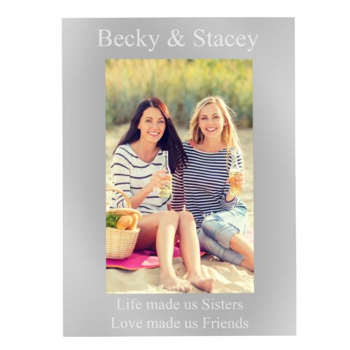 Personalised 4x6 Silver Photo Frame Gift Idea For Sister and Best Friend Birthdays